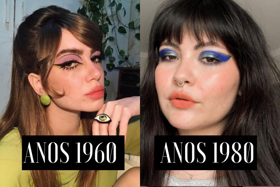 Marina (@submarina.art) e Tabita Tonin (@tabitatonin) usando maquiagens com referências destas décadas | Reprodução: Instagram