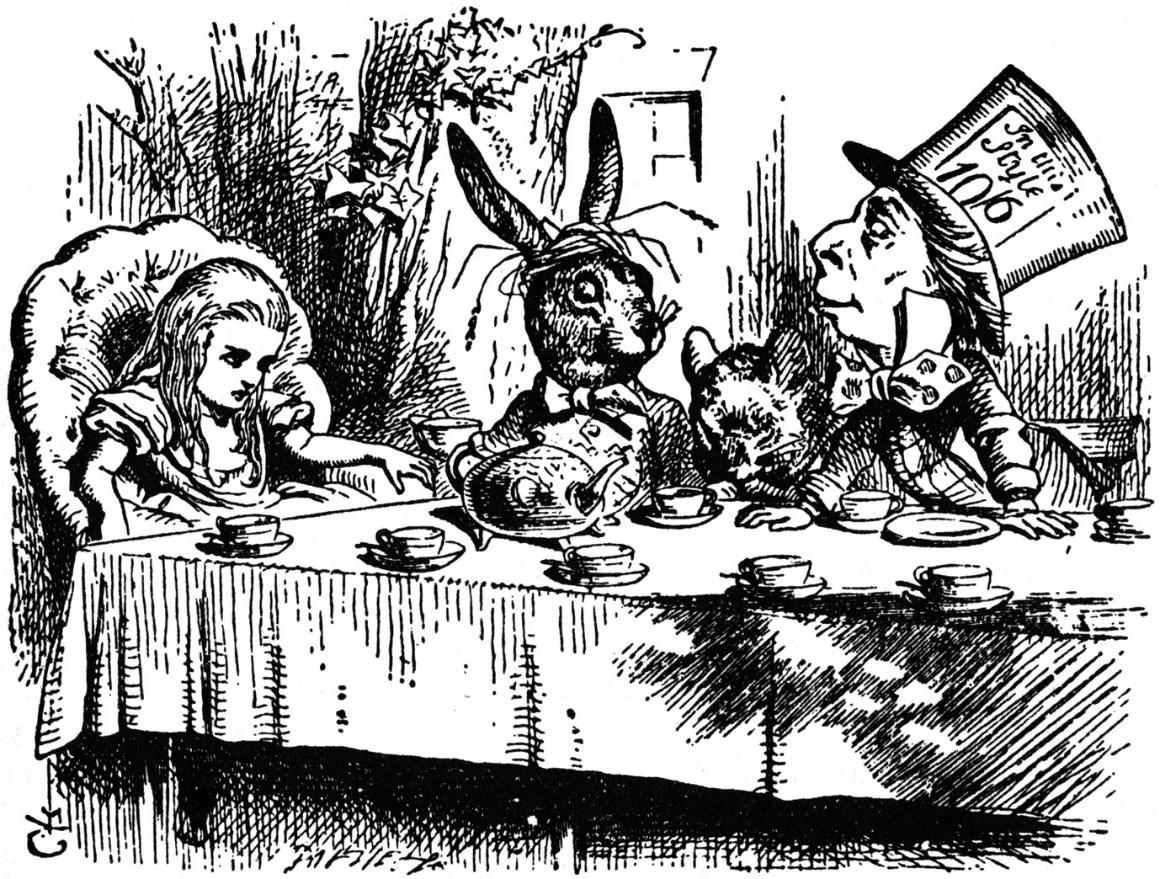 Reprodução/Google: Alice, o Chapeleiro e a Lebre