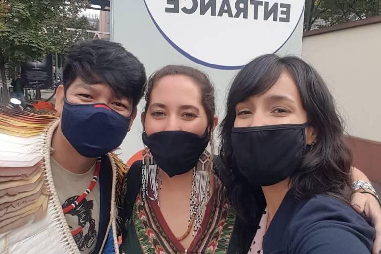 FONTE: Eric, Paloma e Eduarda, participantes brasileiros da cúpula Youth4Climate / Reprodução: Instagram