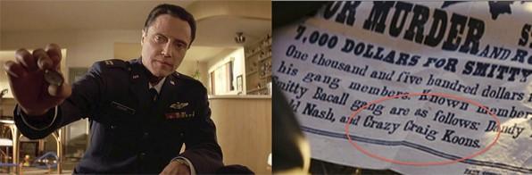 Capitão Koons (à esquerda) e o anúncio de Crazy Craig Koons (à direita). FONTE: Miramax/Columbia Pictures. Reprodução : Medium.