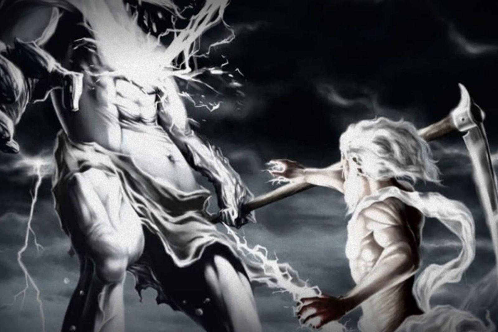 Zeus matando Cronos com seus raios