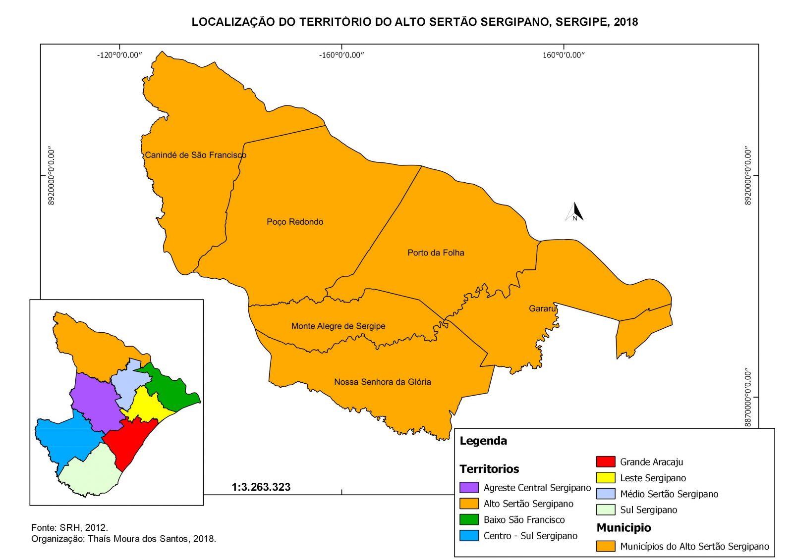 Mapa do alto sertão sergipano. Foto: Passei Direto