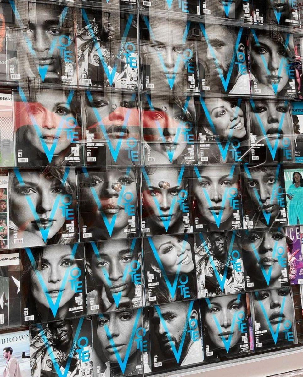 A revista V Magazine chamou diversos artistas para estarem na capa de sua edição incentivando a população jovem a votar