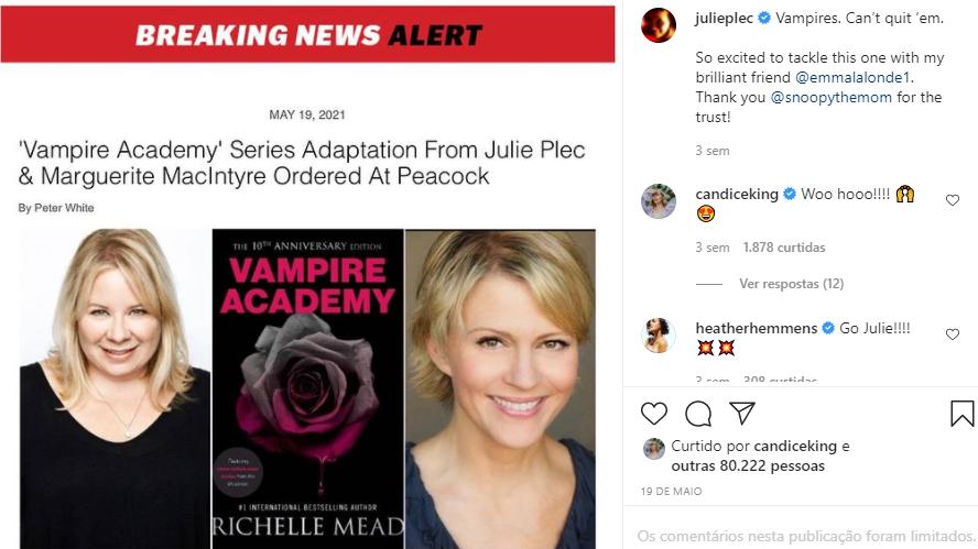 Notícia no Deadline e confirmação no Instagram de Julie Plec (@julieplec)