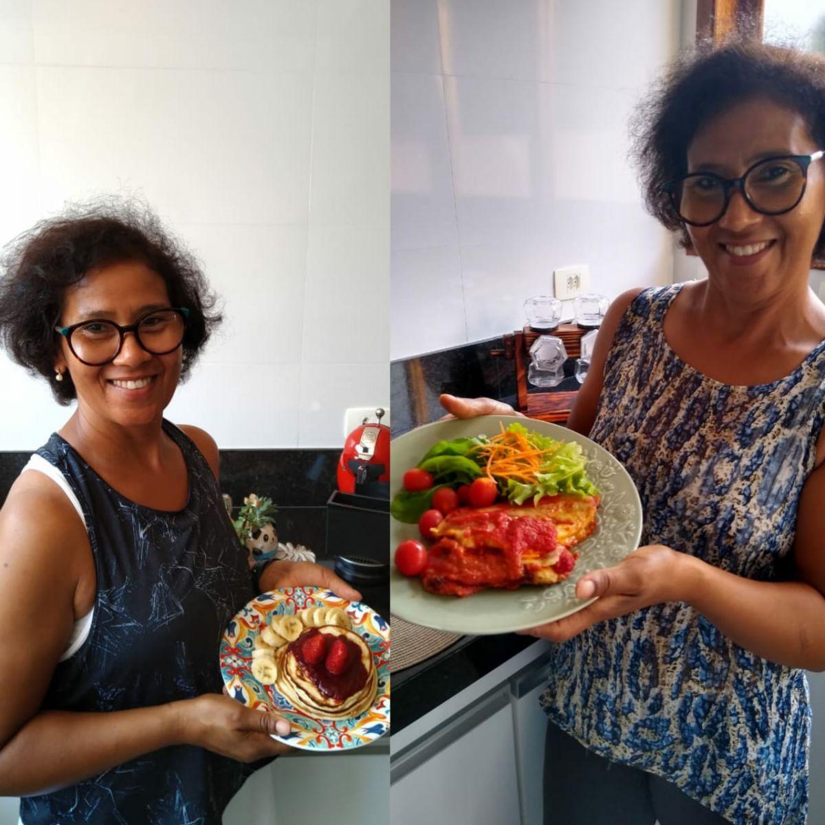 FONTE: Erinalva Domingues incluiu frutas e geleia de ameixa no seu café da manhã, além de preparar um molho de tomate caseiro para seu almoço, com frango e salada/CRÉDITOS: Isabelli Domingues