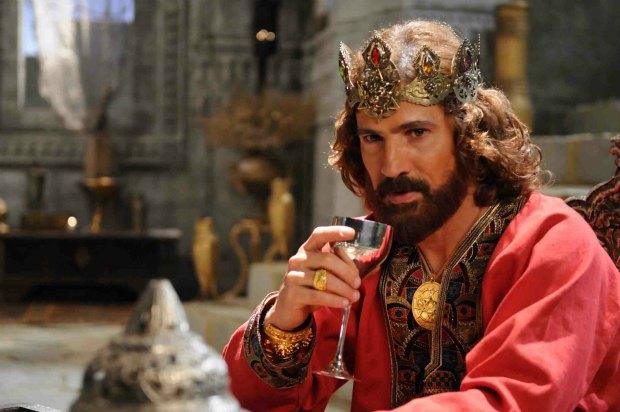 Leonardo Brício caracterizado como Davi na minissérie Rei Davi (2012).