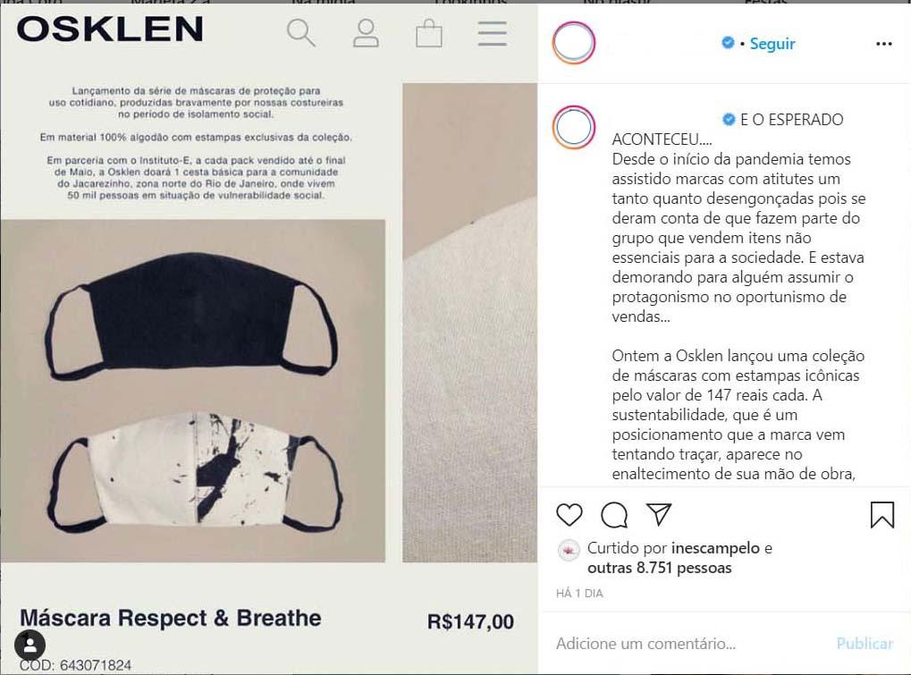 Instagram Osklen / Reprodução