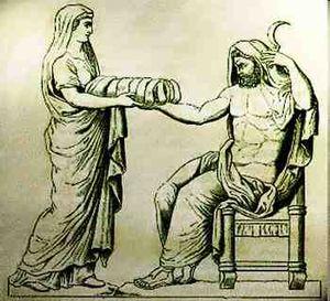 Representação da traição de Reia a Cronos