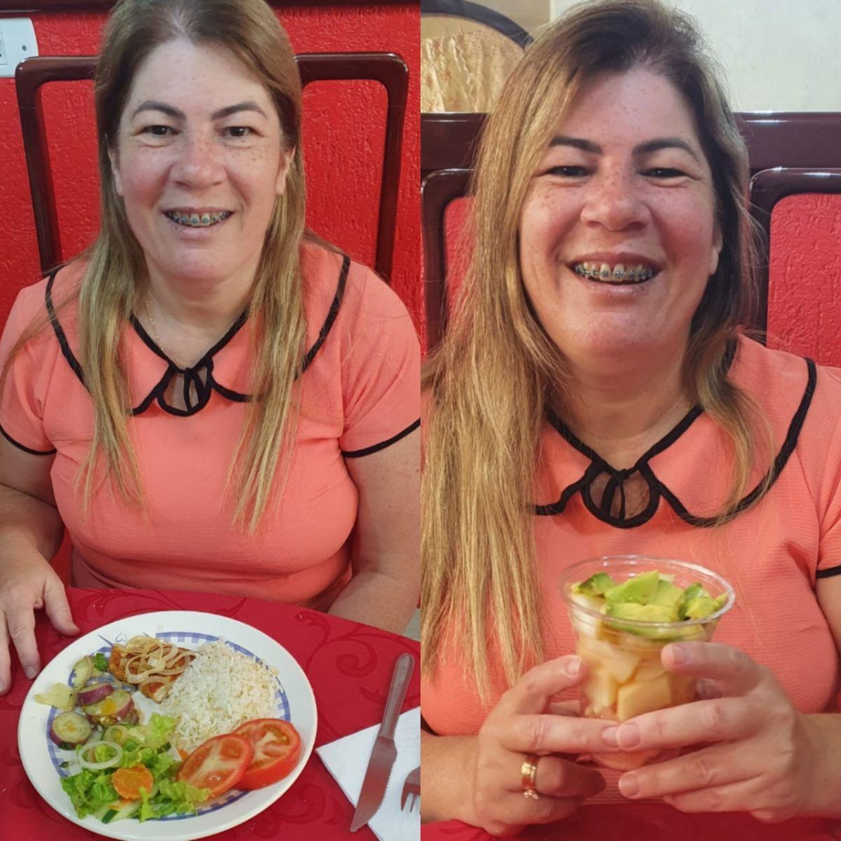 FONTE: A entrevistada Vanda Oliveira incluiu em sua rotina pratos saudáveis como legumes e verduras no almoço, além de frutas no café da tarde/CRÉDITOS: Tatieny Oliveira