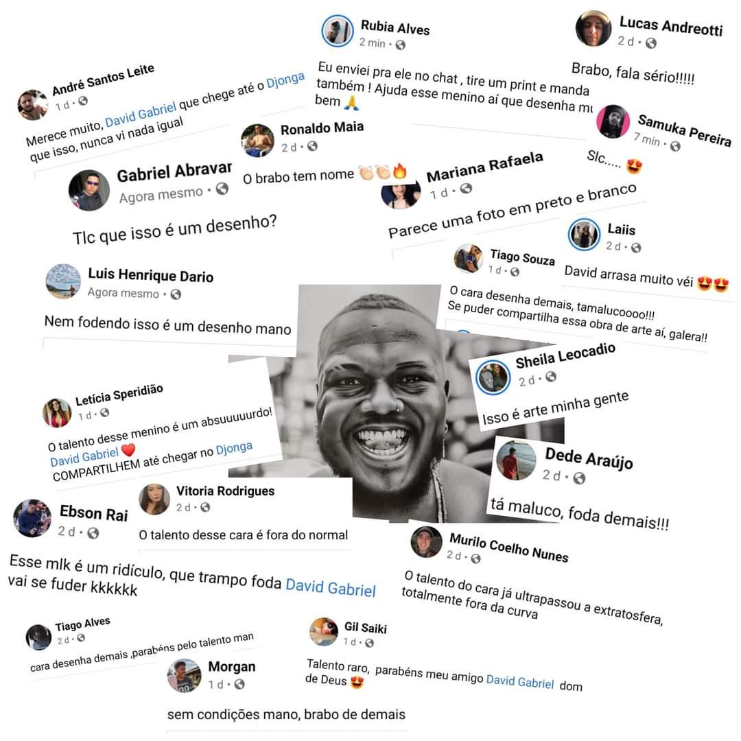 Comentários no desenho que Gabriel fez do rapper Djonga. (Foto: Reprodução).