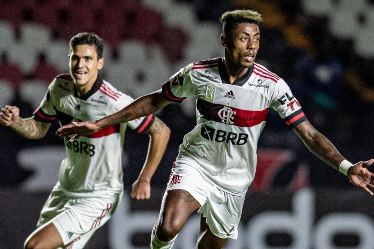 Bruno Henrique comemorando o gol que deu a vitória para o Flamengo no primeiro turno (Foto: Reprodução/Site Coluna Fla)
