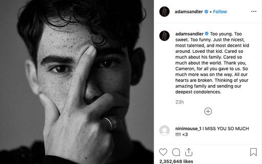 Postagem de Adam Sandler em homenagem à Cameron