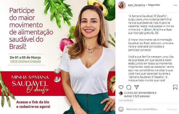 FONTE: Desafio Semana Saudável da influenciadora e chef Dani Faria Lima, divulgado no Instagram/Reprodução: Instagram