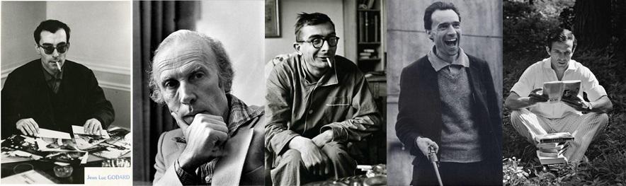 Godard, Rohmer, Chabrol, Rivette e Truffaut, respectivamente (Foto: Pinterest)