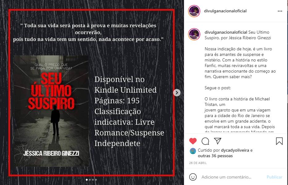 Post de uma recomendação de livro. (Reprodução: Instagram @divulganacionaloficial)