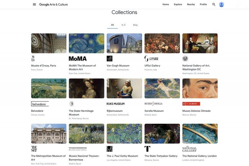 FONTE: Página inicial do Google Artes e Cultura que reúne exposições de diversos museus do mundo/Reprodução: Diário de Cuiabá