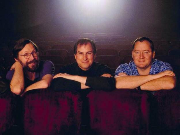John Lasseter,  Steve Jobs e Ed Catmull executivos da Pixar ( Foto/Reprodução: Pixar Animation Studios)