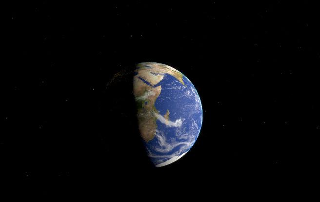 Terra vista da estação espacial. Imagem de Museu de Astronomia e Ciências Afins.