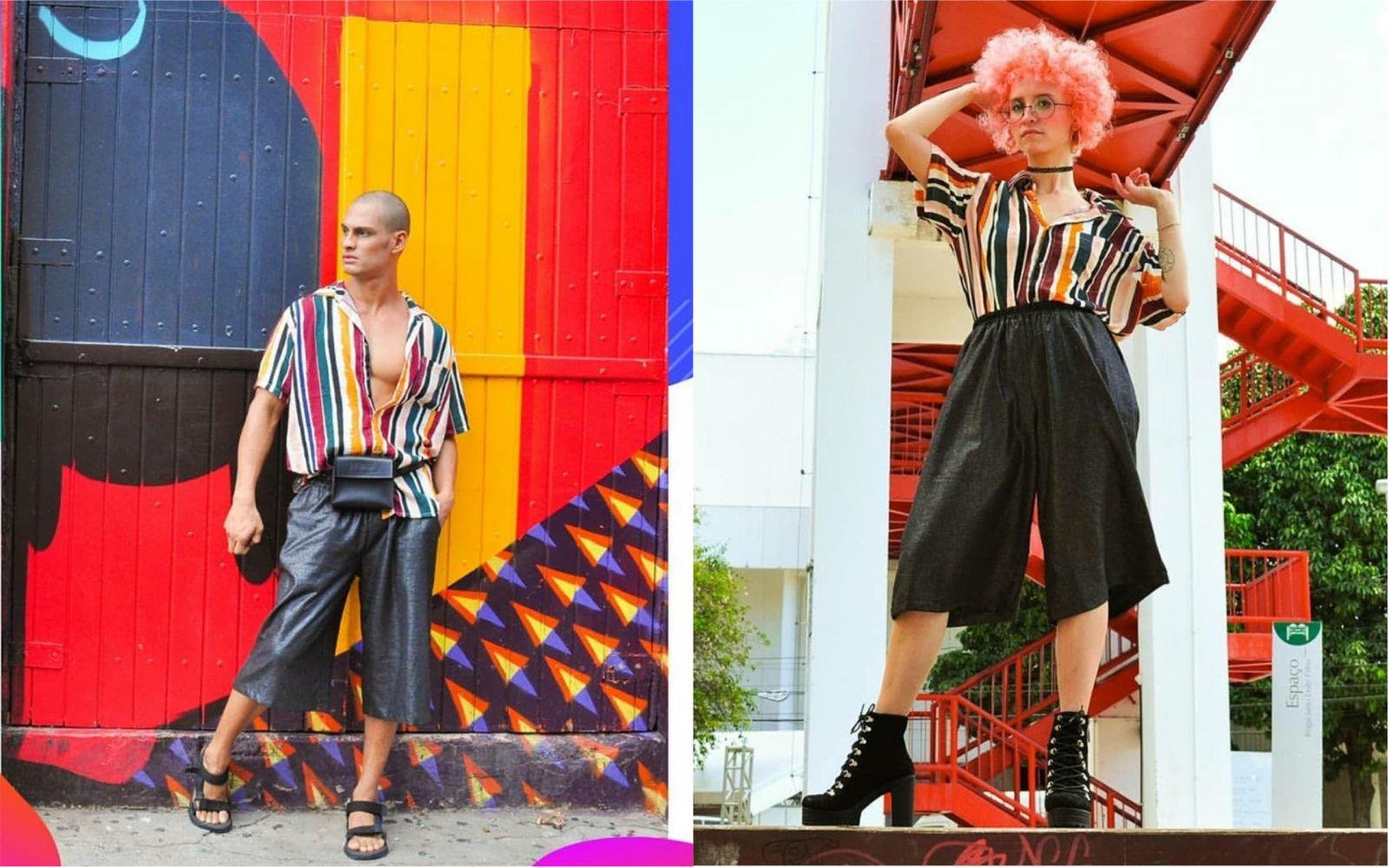 Reprodução: Instagram (Homem e mulher vestindo a mesma composição de roupa.)