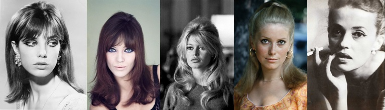 Jane Birkin, Anna Karina, Brigitte Bardot, Catherine Deneuve e Jeanne Moreau (Foto: Pinterest)
