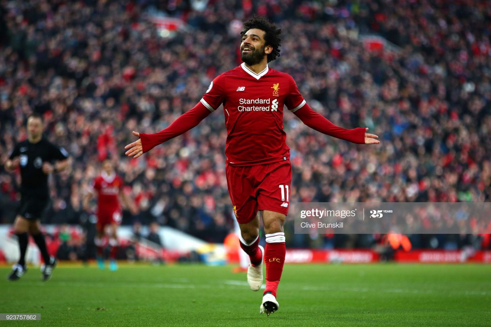 Salah comemorando o gol.Reprodução/Foto:Clive Brunskill/Getty images