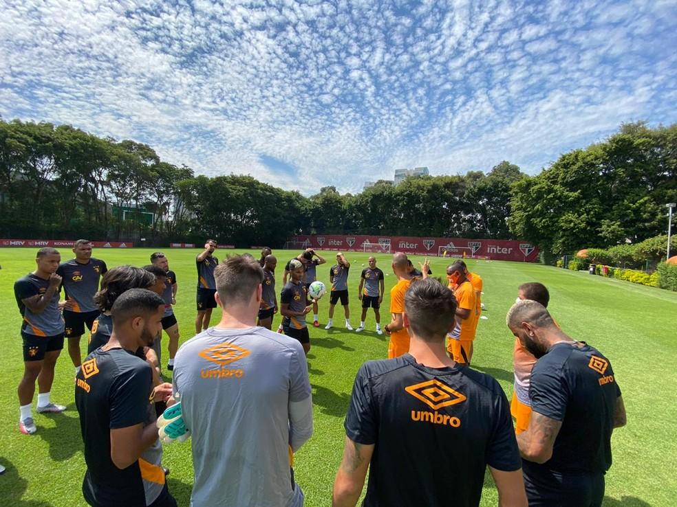 O Sport encerrou sua preparação para o jogo no CT do São Paulo, na Barra Funda. (Foto: Reprodução/Sport/ge)