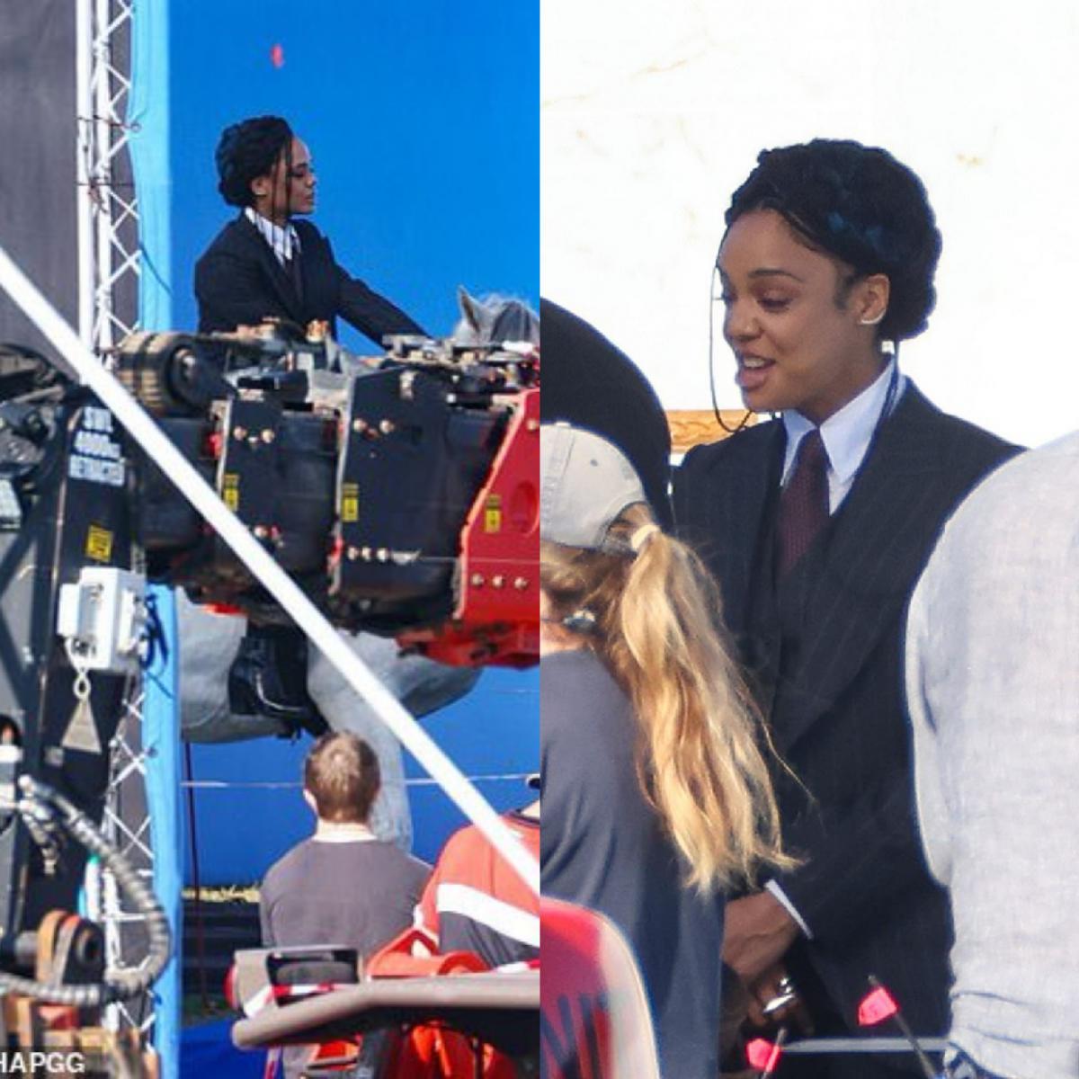 Tessa Thompson no set como Valquíria / Fonte: Daily Mail