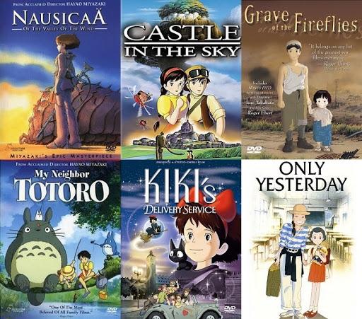 Nausica no Vale dos Ventos, O Castelo Animado, Túmulo dos Vagalumes, Meu Amigo Totoro, Serviços de Entrega da Kiki, Memórias de Ontem / Reprodução: Ghibli Studio