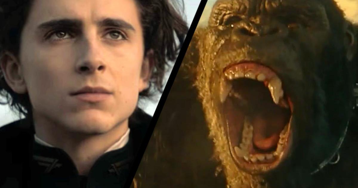 Cena dos filmes Duna e Godzilla vs. Kong. (Foto: Reprodução/  Legendary Pictures/ warner Bros./ Cine Pop)