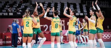 Em jogo acirrado, Brasil vence a República Dominicana pelo vôlei feminino