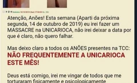 Unicarioca sofre ameaça de ataque no Rio