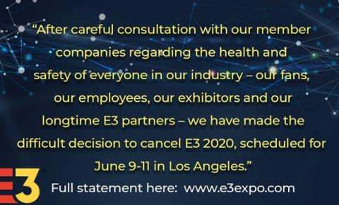 E3 2020 cancelada por conta do coronavírus