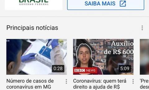 YouTube lança seção com fontes confiáveis sobre coronavírus