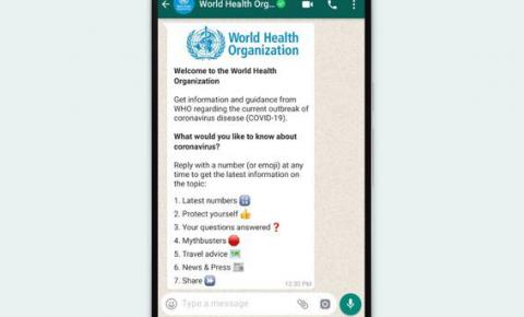 Coronavírus: OMS fornece canal com informações pelo WhatsApp
