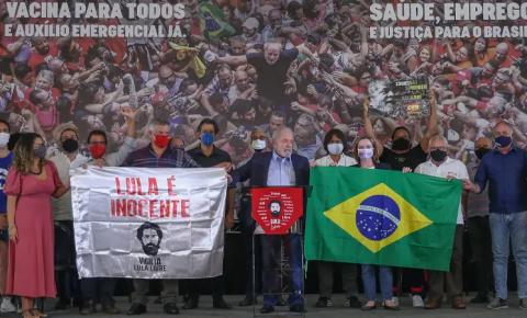 Ex-presidente Lula faz seu primeiro discurso após a anulação de suas condenações