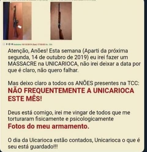 Centro Universitário sofre suposta ameaça de ataque no RJ